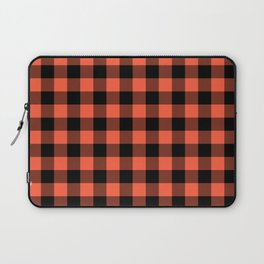 Jumbo Living Coral Color of the Year Orange and Black Buffalo Check Plaid Laptop Sleeve
