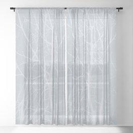 Tree silhouettes on bluestone Sheer Curtain