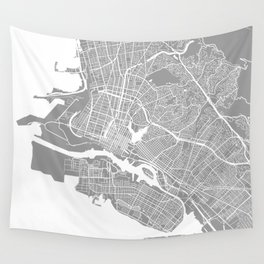 Oakland CA map grey Wall Tapestry