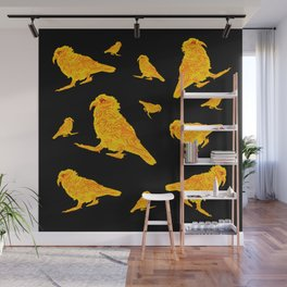 Kea Multiple - yellow with black background Wall Mural