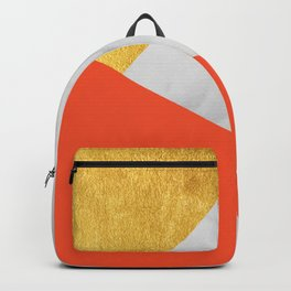 Carrara Marble with Gold and Pantone Flame Color Backpack