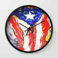 puerto rico Wall Clocks featuring Puerto Rico by Joel Gonzalez