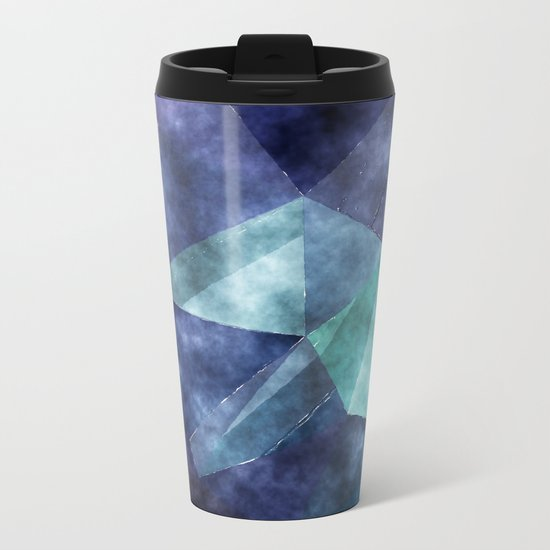 The deep blue sea- Watercolor triangles pattern in blue colors Metal Travel Mug