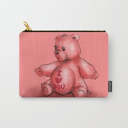 Pink Teddy Bear Carry-All Pouch