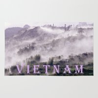 vietnam Area & Throw Rugs featuring FOGGY MOUNTAIN - VIETNAM - ASIA by CAPTAINSILVA
