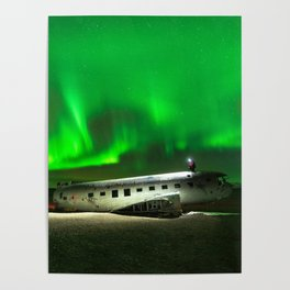 Aurora borealis above the DC3 plane wreck in Iceland Poster