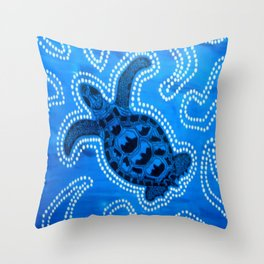 Aboriginal Art - Tortoise (Auowara) Throw Pillow