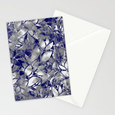Grunge Art Silver Floral Abstract G169 Stationery Cards