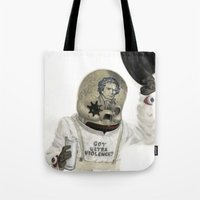 clockwork Tote Bags featuring Clockwork Calavera by Jonathan  Bergeron