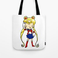 sailor moon Tote Bags featuring Sailor Scout Sailor Moon by Space Bat designs