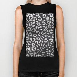 Black white hand paint leopard pattern chalkboard Biker Tank