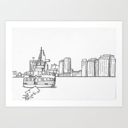 Halifax Ferry, black and white Art Print