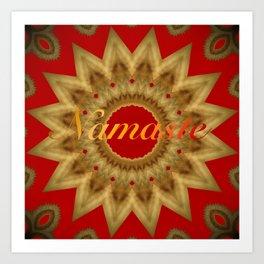 Namaste Gold Red Mandala Design Art Print