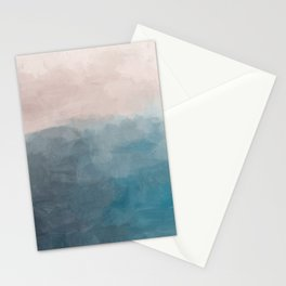 Turquoise Aqua Teal Blue Coral Rose Pink Abstract Painting, Modern Wall Art, Ocean Sunset Sand Beach Stationery Cards