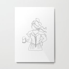 German Barmaid Serving Beer Drawing Metal Print