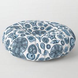 Ernst Haeckel Diatomea Diatoms in Navy Blue Floor Pillow