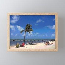 Beach with Coconut Palm Framed Mini Art Print