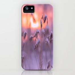 Snowy Reeds Sunset Purple Tone #decor #society6 #homedecor #buyart iPhone Case