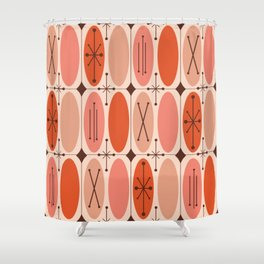 Atomic Era Ovals In Rows Orange Shower Curtain