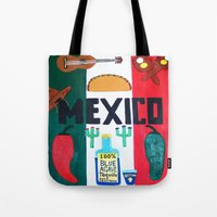 mexico Tote Bags featuring Mexico by Jake Hollywood