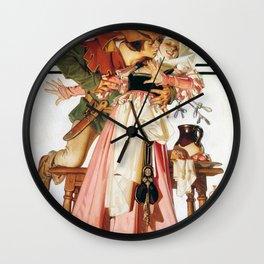 Joseph Christian Leyendecker - Christmas Season-kiss Under Mistletoe - Digital Remastered Edition Wall Clock