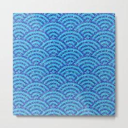 Japanese Woodblock Printing Bright Blue Asian   Metal Print