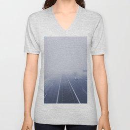 A road in the morning mist Unisex V-Neck