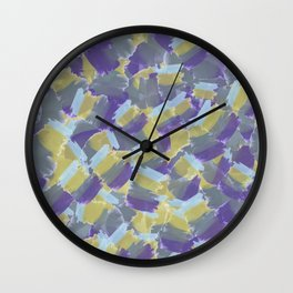 Violet,yellow,gray abstract flowers pattern Wall Clock