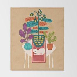 Indoor garden with cat Throw Blanket