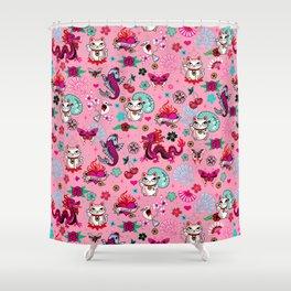 Lucky Cat Maneki Neko , Dragons and Koi fish On Pink Shower Curtain