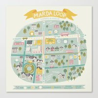 the neighbourhood Canvas Prints featuring Neighbourhood Map by Jacqui Lee