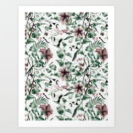 Asian pattern of crane and flowers Art Print