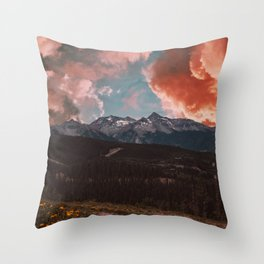 Pink Clouds and Mountains Throw Pillow