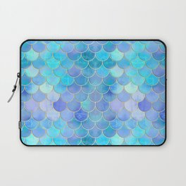 Aqua Pearlescent & Gold Mermaid Scale Pattern Laptop Sleeve