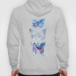Butterflies Three Blue Clothes Women Hoody