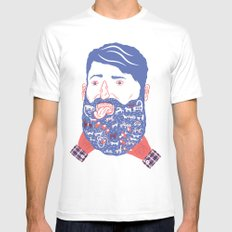 Animals in Beard White Mens Fitted Tee MEDIUM