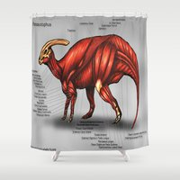 muscle Shower Curtains featuring Parasaurolophus Muscle Study by Rushelle Kucala Art