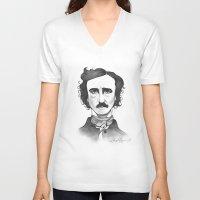 edgar allan poe V-neck T-shirts featuring Edgar Allan Poe by Sydney Morrow