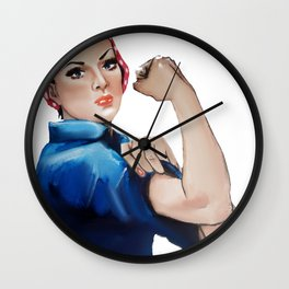 Rosie The Riveter Feminist Feminism Wall Clock