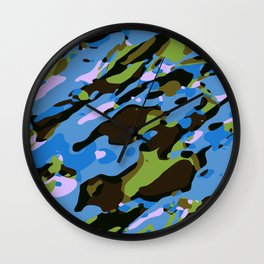 green blue and brown camouflage graffiti painting abstract background Wall Clock