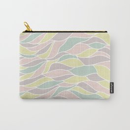 Pastel yellow green coral pink abstract geometric waves Carry-All Pouch