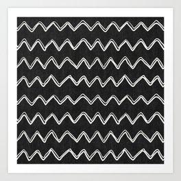 Moroccan Horizontal Stripe in Black and White Art Print