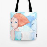 hologram Tote Bags featuring Pearl and Hologram (Steven Universe) by artsycuno