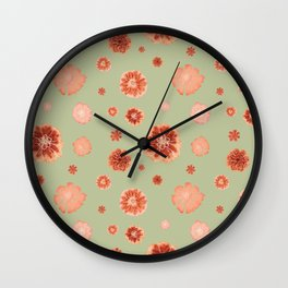 Large floral print on sage green backdrop Wall Clock