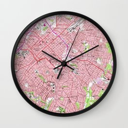 Vintage Map of Charlotte North Carolina (1967) Wall Clock