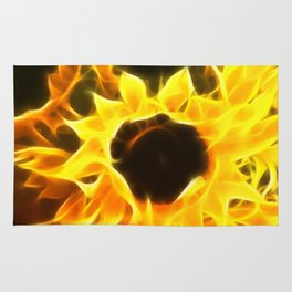 Flame Petaled Sunflowers Rug