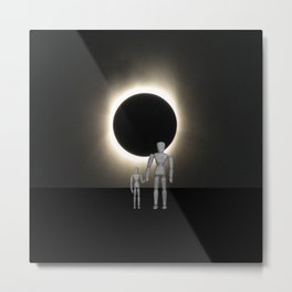 Wooden Anatomy Father Doll and Child before Total Solar Eclipse Metal Print