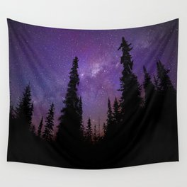 Milky Way Galaxy Over the Forest Wall Tapestry