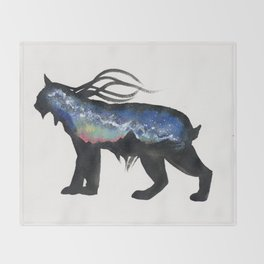 Aurora Milky Way Lynx. Throw Blanket