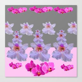 PURPLE  FUCHSIA ORCHIDS  SPRINKLES ON  GREY-PINK ART Canvas Print